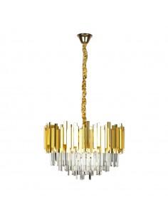 Lámpara dorada 53 cms con adornos de metacrilato