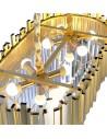 Lámpara dorada oval 80 cms con adornos de metacrilato