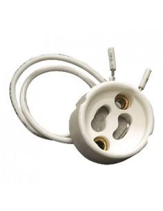Portalampara casquillo GU10 cerámica cable 12cm