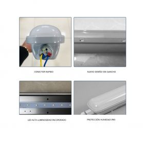 Luminaria pantalla estanca 150cm 50W LED incoporado conector rápido